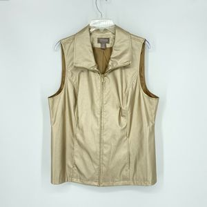 Chico's Gold Faux Leather Vest Size 2 (L) Metallic